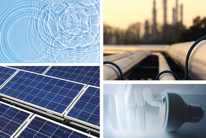 Image of solar, electrical and water environmental things