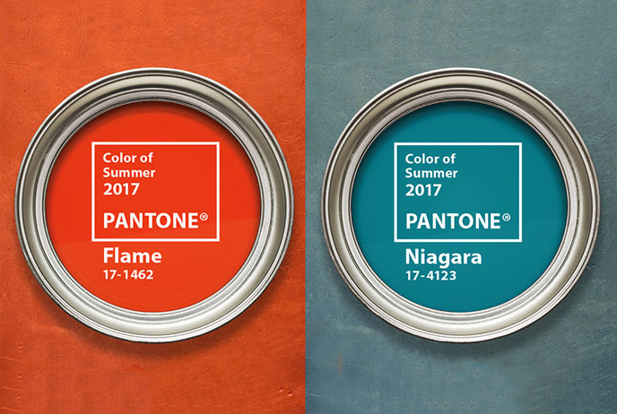 Image of two Pantone Paint Cans with Summer Colors