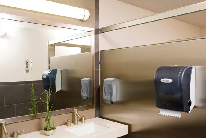 Image of paper products in restroom